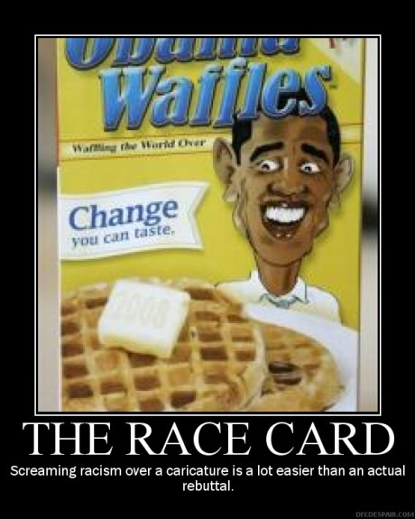 See....that IS THE POINT!  It's the cariticture that is the problem...why do have to use Obama to sell your pancakes.  If nothing else, have some respect fotr the man who is the rpes...